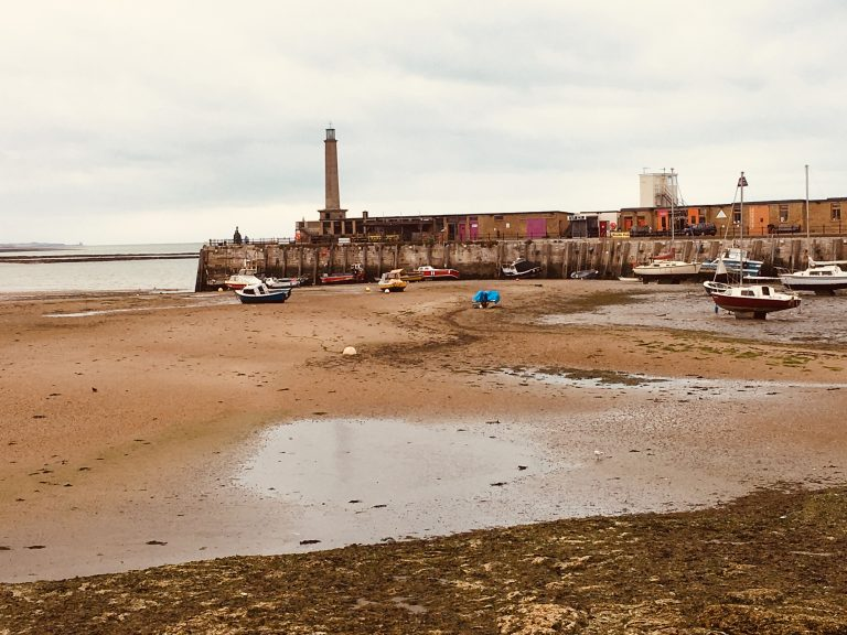 Margate's harbour during low tide